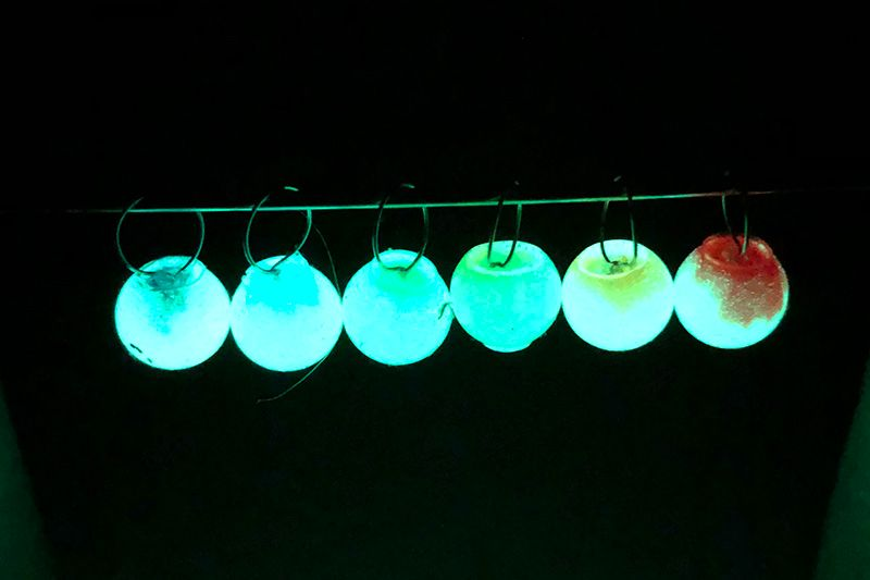 Resin stitch markers - glow in the dark rainbow