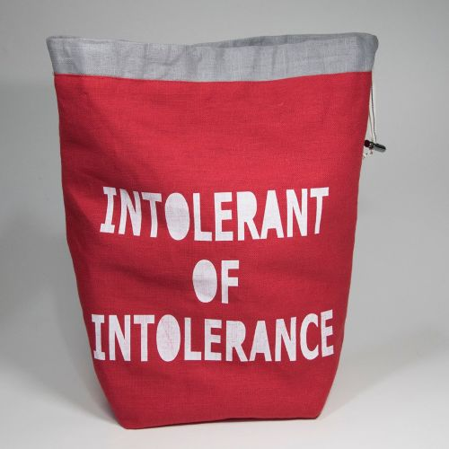 <!-- 001 -->The Medium Linen Project Bag - `INTOLERANT OF INTOLERANCE