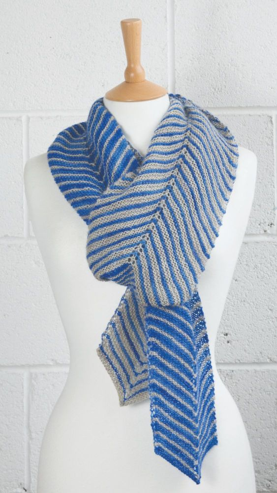 Get to the Point  Shawl -Blue and Pearl