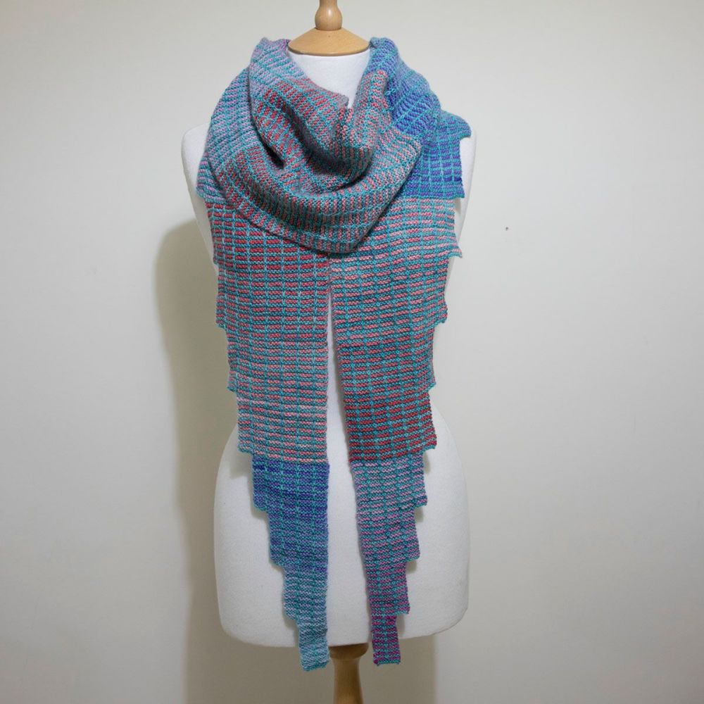 Simple Steps Shawl - Turquoise and Soft Centres