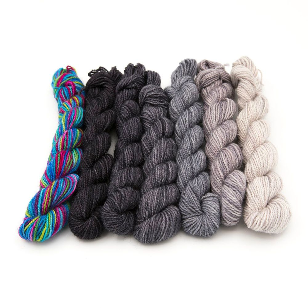 4ply BFL & nylon magnificent seven mini skein set - Blue Rainbow and Gray