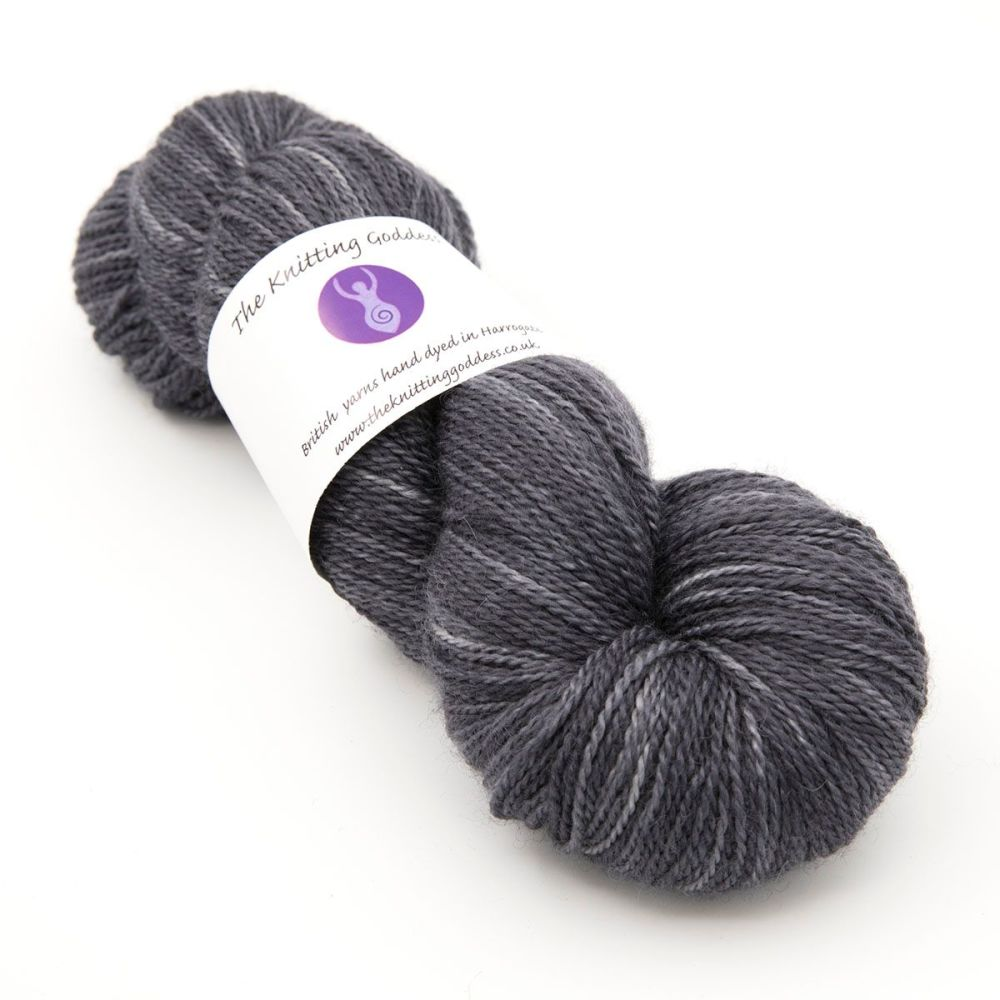 4ply BFL, silk and alpaca - Charcoal 18AB