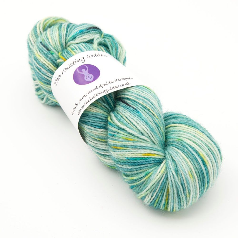 4ply Britsock - Goddess Splodge Green 19P