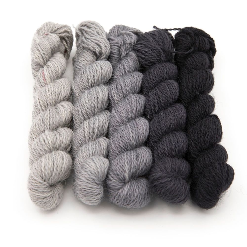 <!-- 004 -->One Farm Yarn - Gray Gradient mini skeins