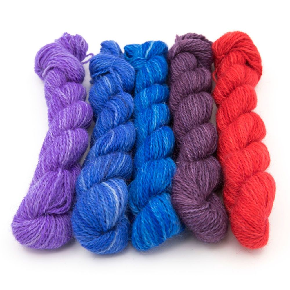 One Farm Yarn - Red Blue Violet mini skeins