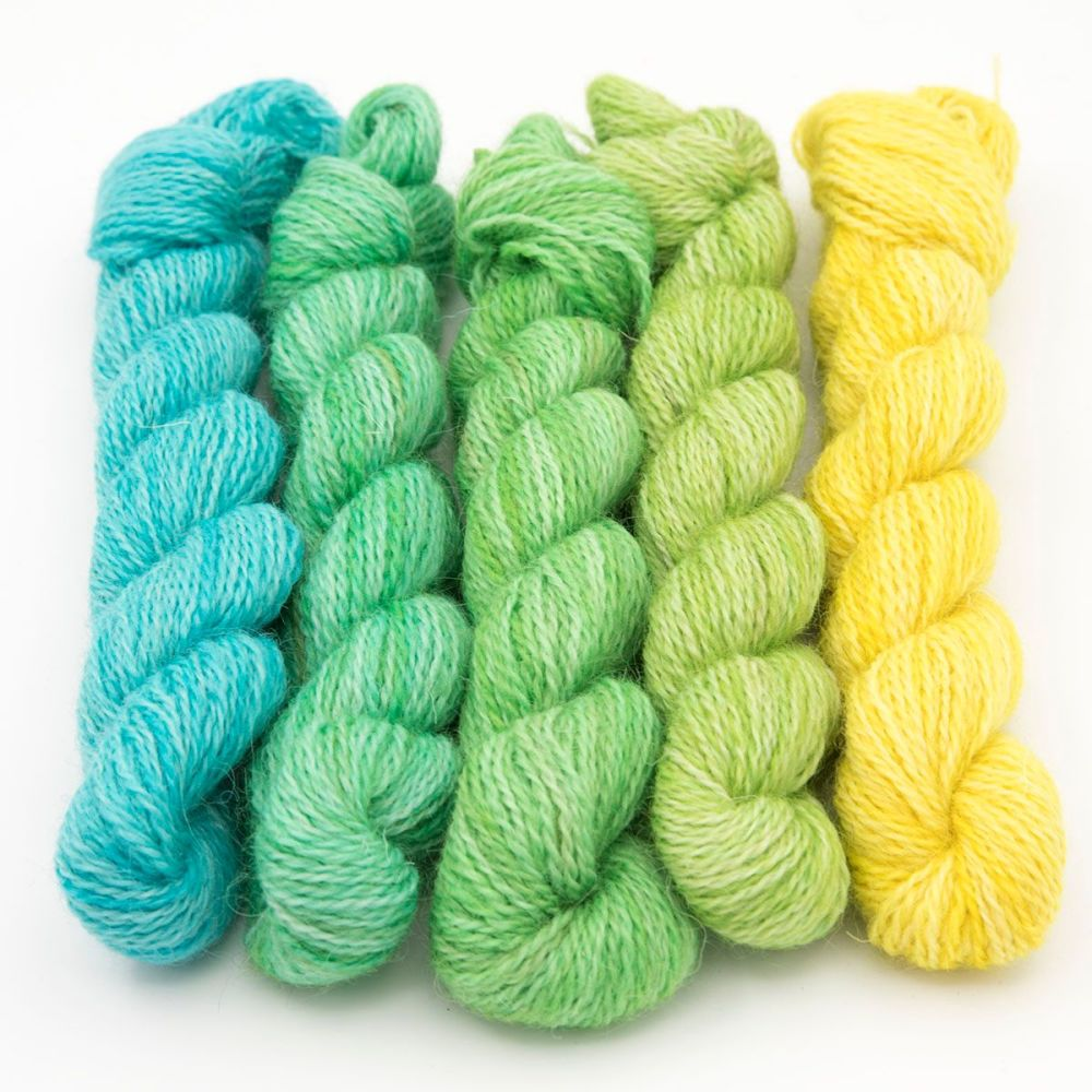 One Farm Yarn - Turquoise to Yellow mini skeins