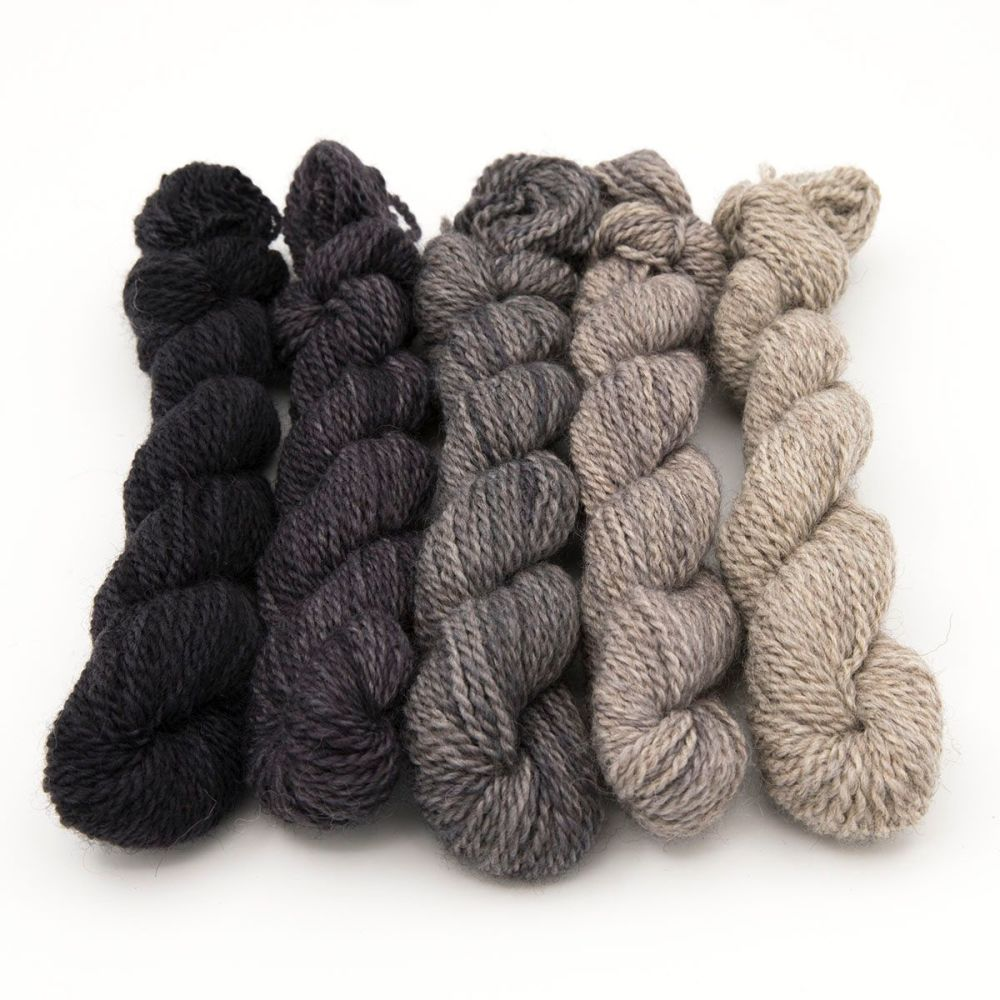 DK BFL Masham mini skeins - Grey Collection