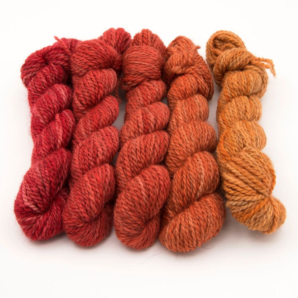 DK BFL Masham mini skeins - Red and Orange