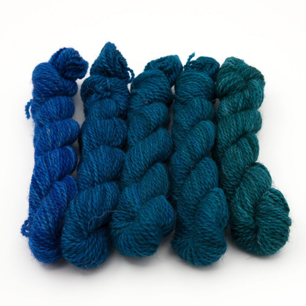 DK BFL Masham mini skeins - Teal Collection
