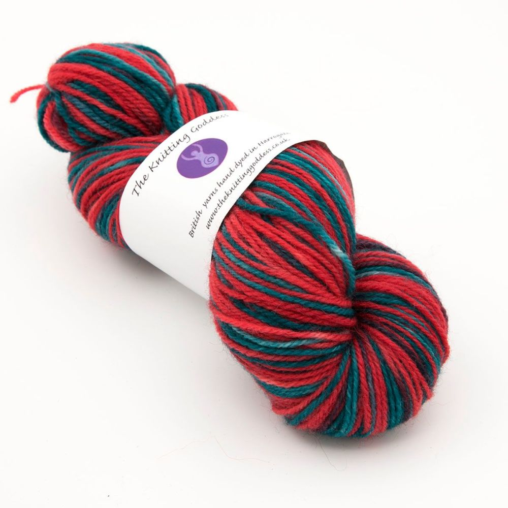 DK sock yarn - Green and Red
