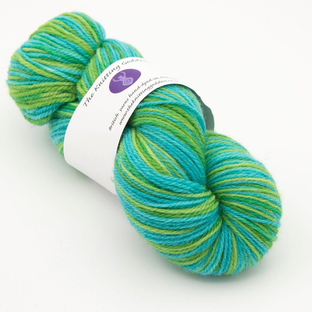 DK sock yarn - Lime and Turquoise 19B