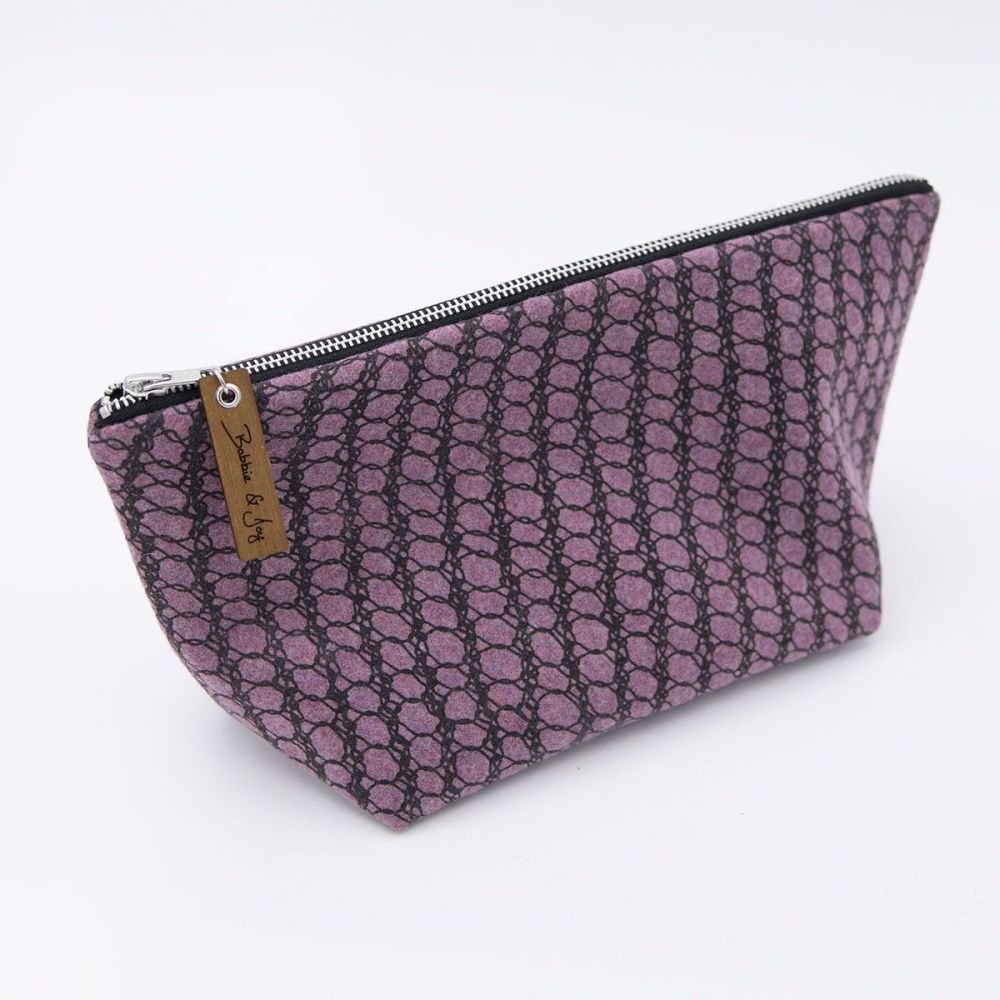 Amethyst Wool Felt Bag - Knitted Mesh Print