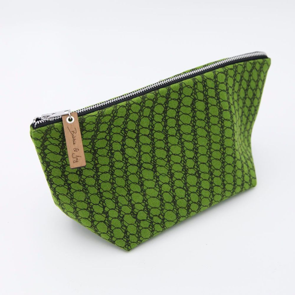 Green  Wool Felt Bag - Knitted Mesh Print