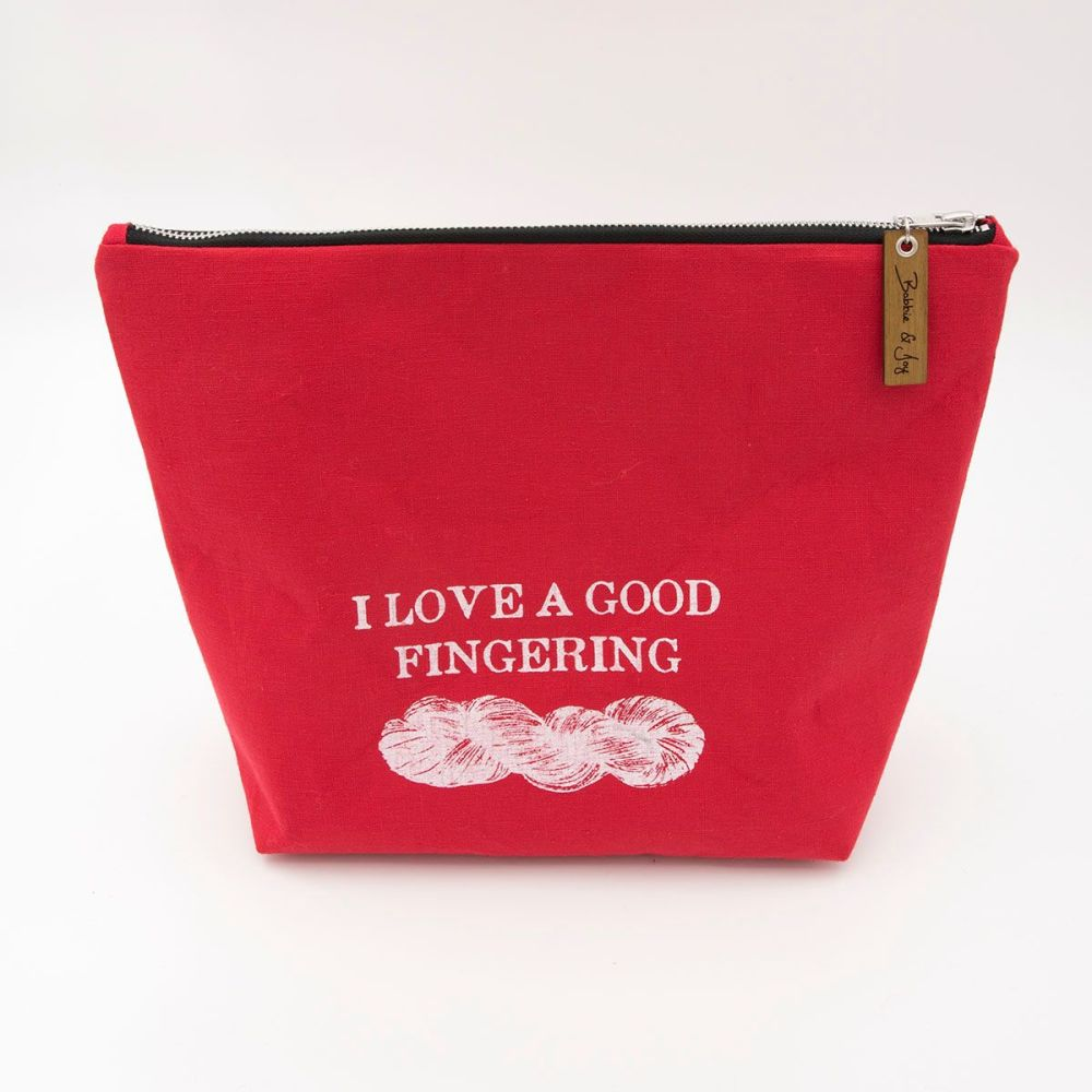 Large Linen Zipped Pouch - Good  Fingering