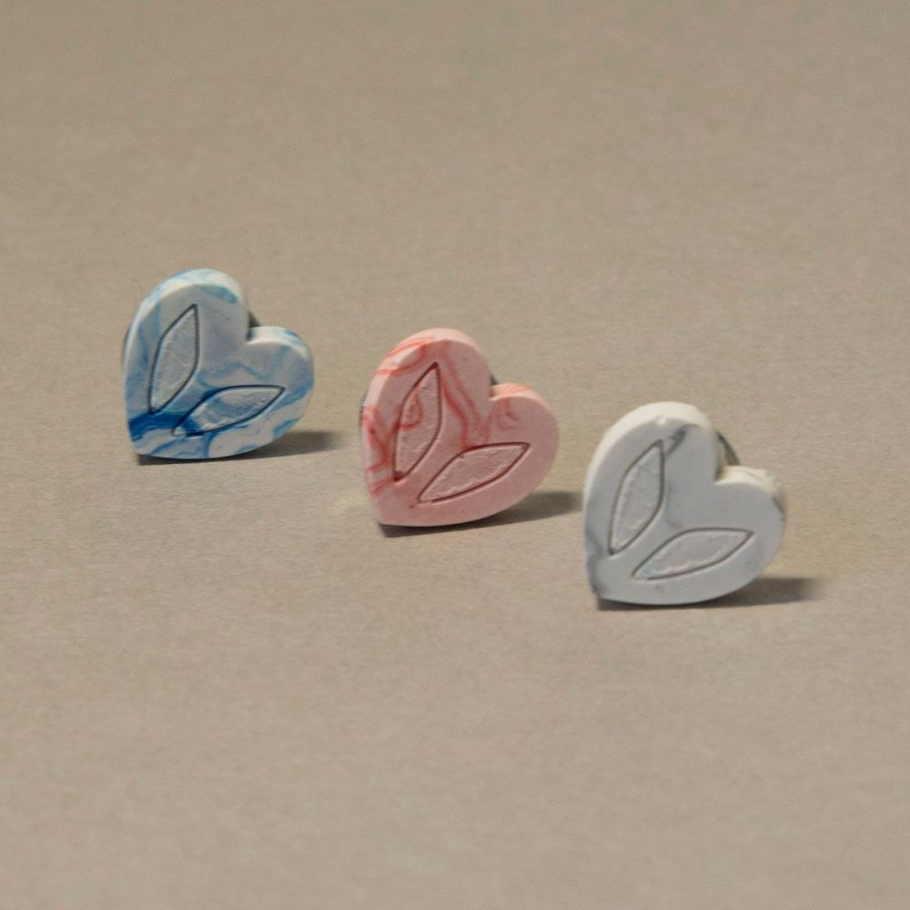 Tiny Jesmonite Heart Pin - Trio