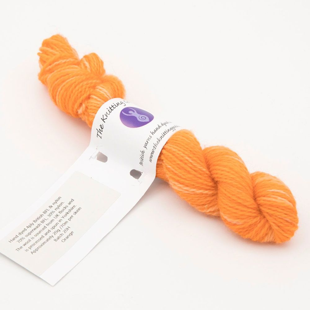 <!-- 003 --> 4ply BFL & Nylon mini skein - Orange