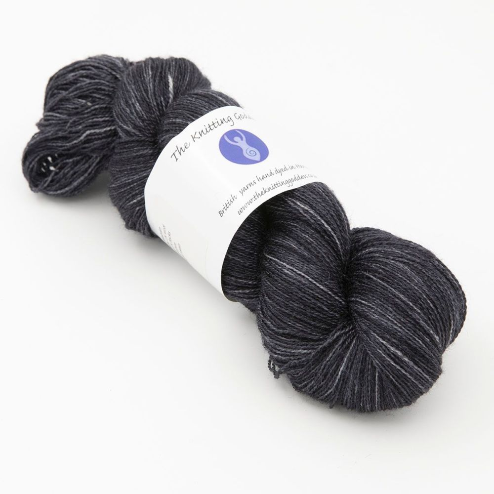 Moonbow Lace Weight BFL and Silk -  Coal