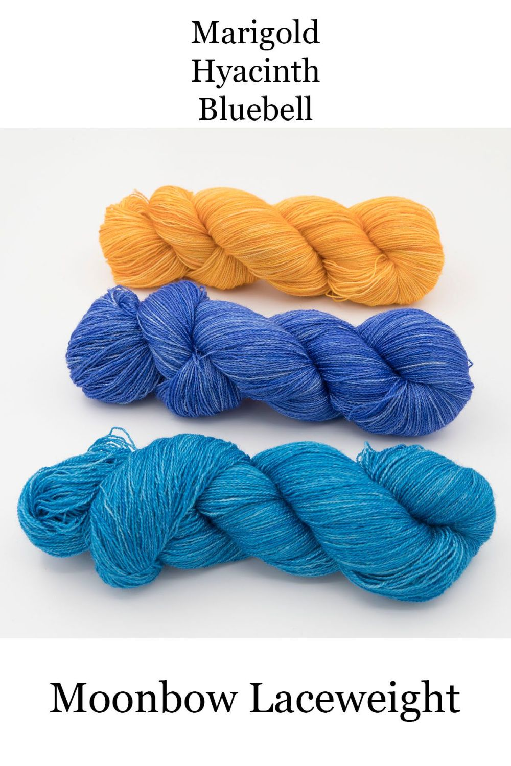 moonbow marigold, hyacinth, bluebell