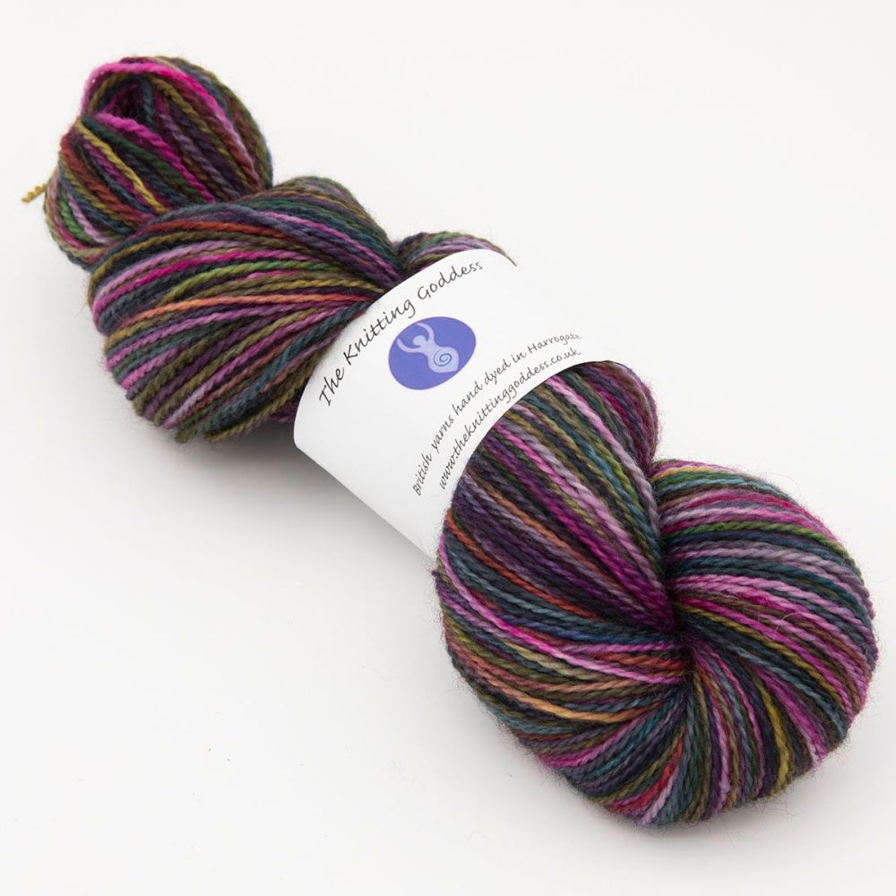 4ply BFL & Nylon - Dark Rainbow