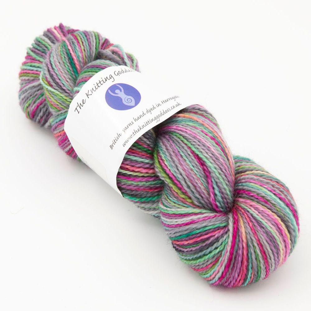 4ply BFL & Nylon - Rainbow in a Silver Sky