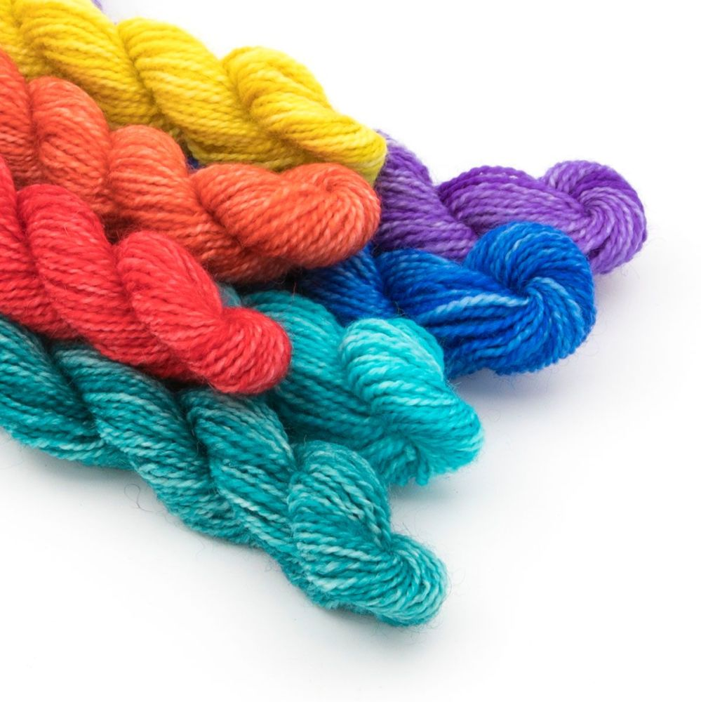 rainbow-mini-skeins-blue-faced-leicester-nylon-sock-yarn-british-hand-dyed-