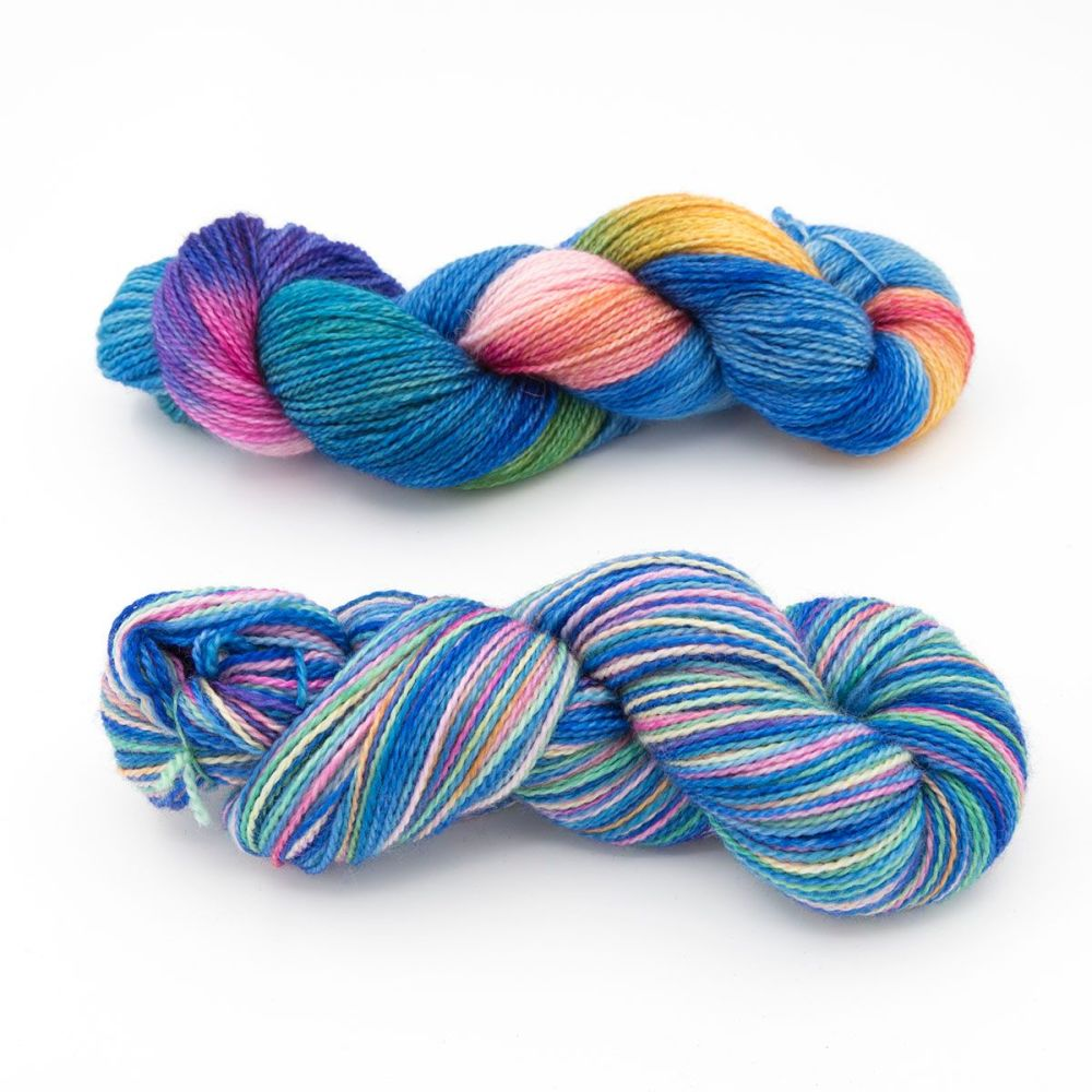 blue rainbow duo-blue-faced-leicester-nylon-sock-yarn-british-hand-dyed-the