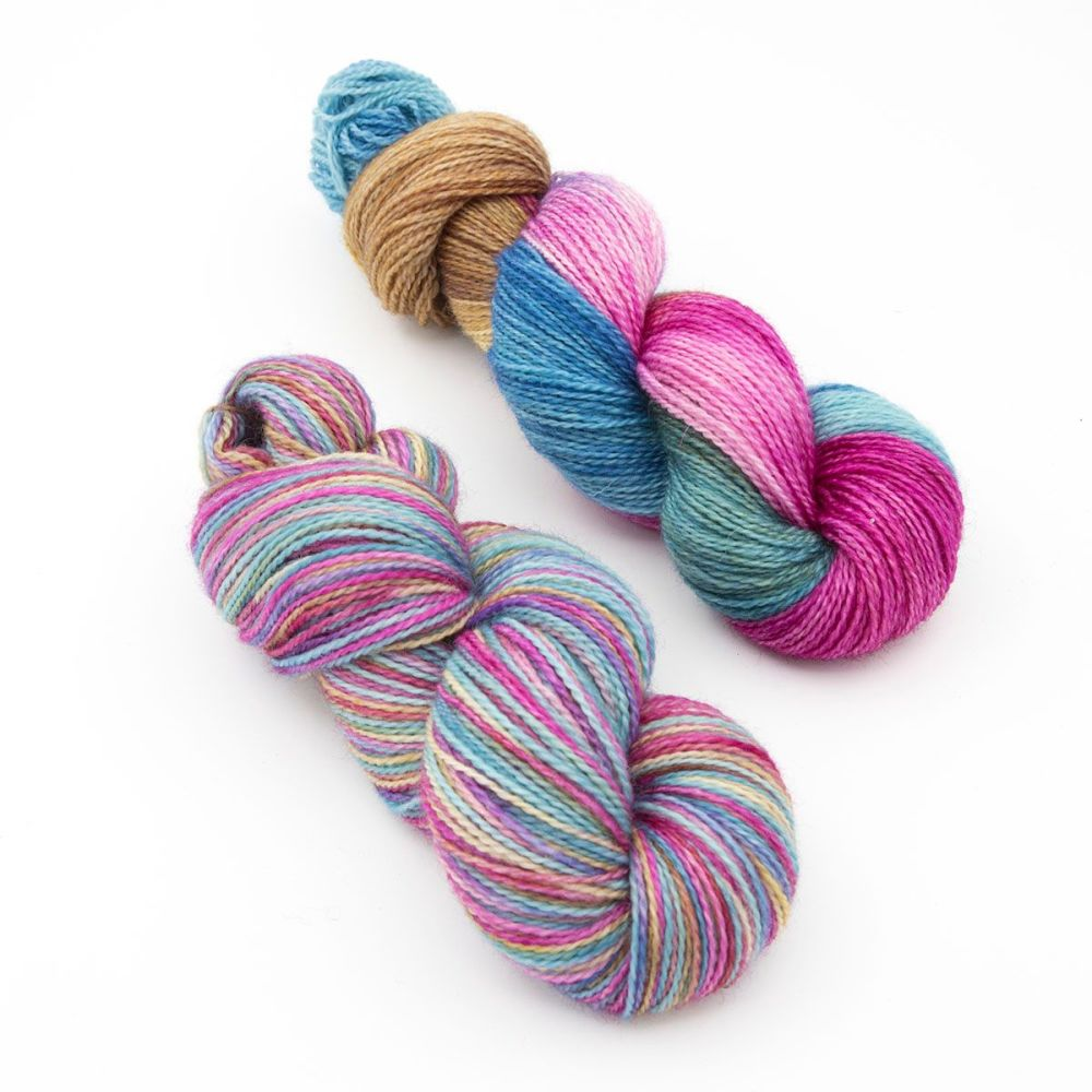 faded-rainbow duo 1-blue-faced-leicester-nylon-sock-yarn-british-hand-dyed-