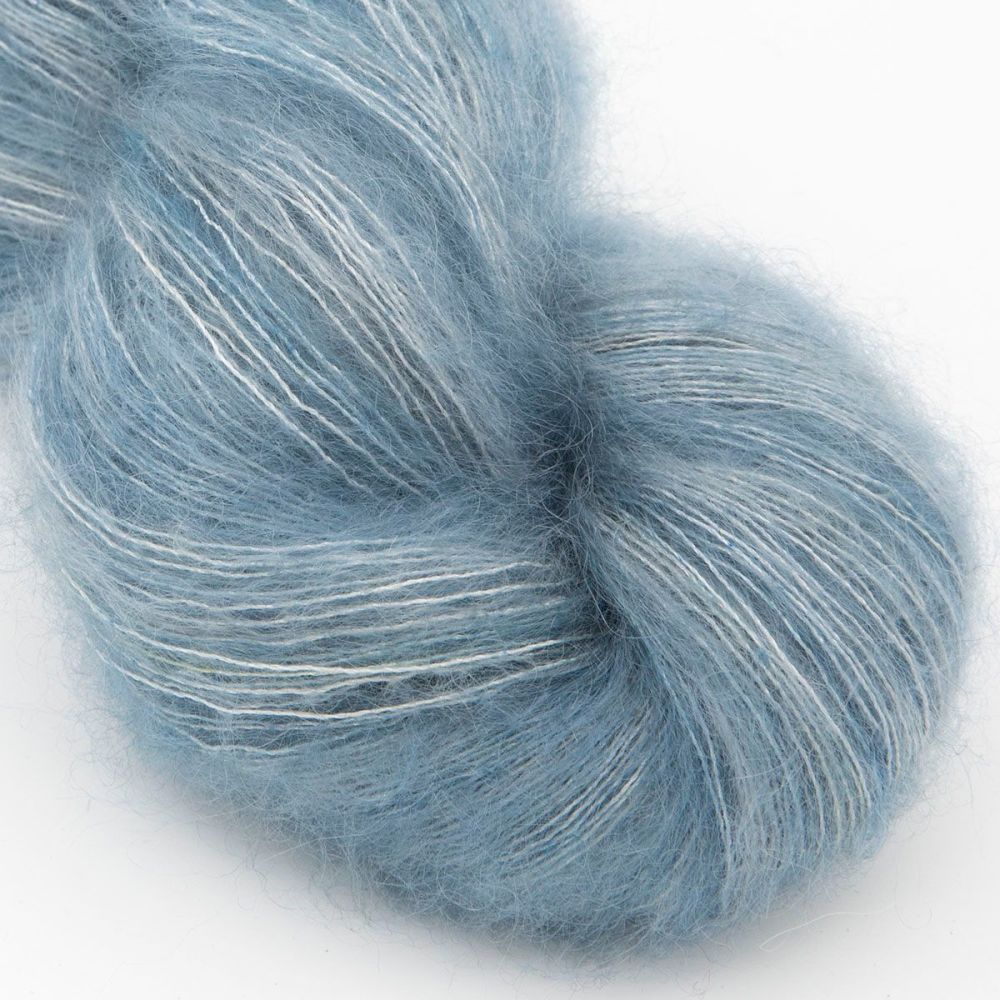moonbroch superhero genes phantom blue kid mohair silk haze hand dyed yarn
