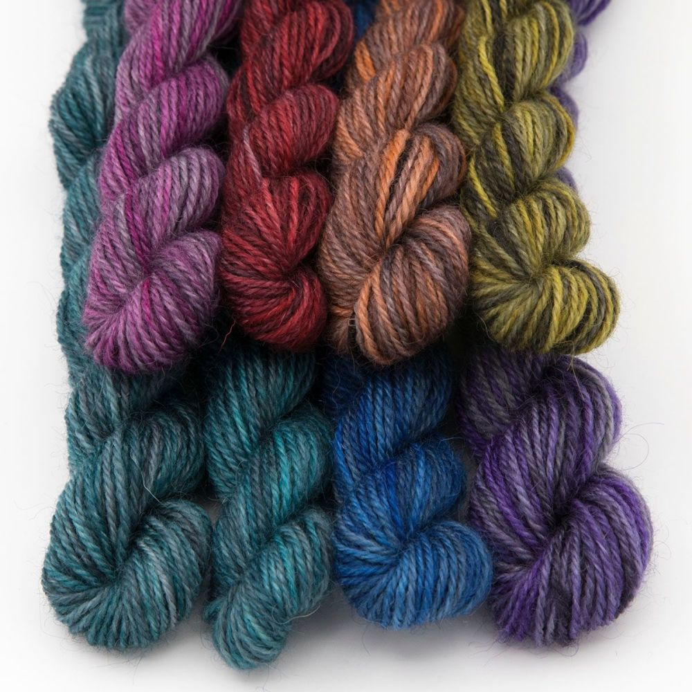 charcoal pride rainbow mini skein-britsock-blue-faced-leicester-wensleydale