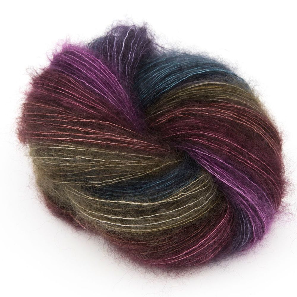 moonbroch dark rainbow mini skein set kid mohair silk fluffy hand dyed yarn