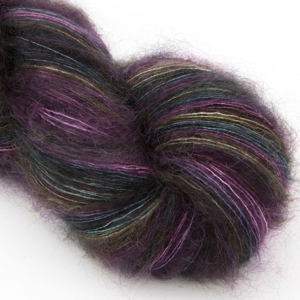 moonbroch Darkened Rainbow kid mohair silk haze hand dyed yarn indie uk yor
