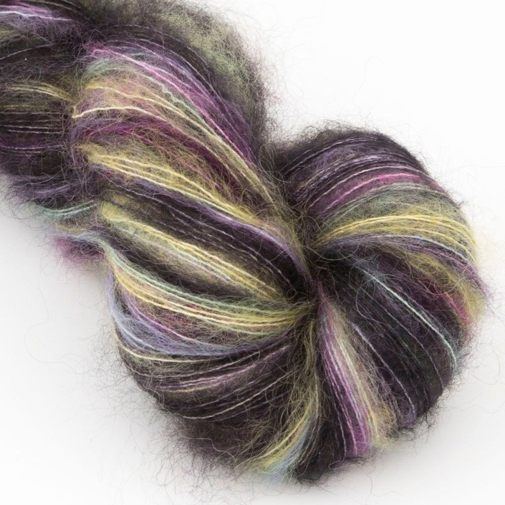 moonbroch Rainbows and Black Clouds kid mohair silk haze hand dyed yarn ind