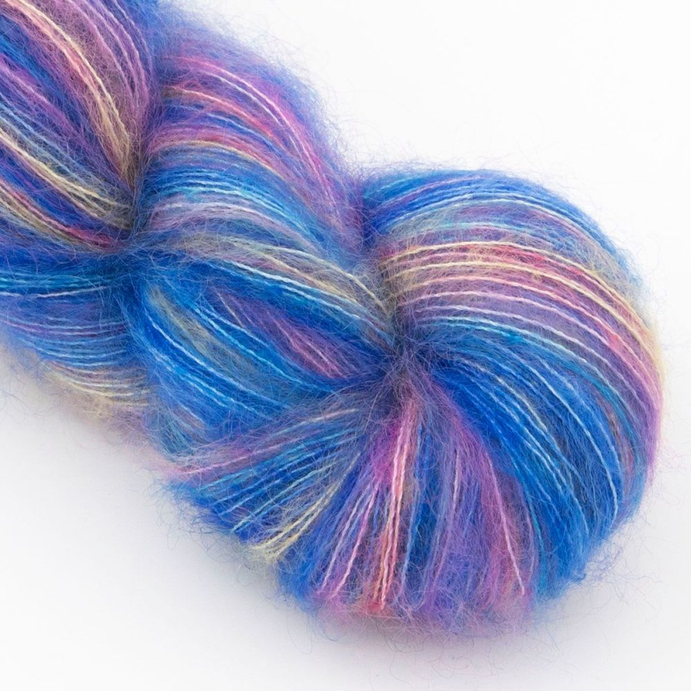 moonbroch Rainbows and Blue Skies kid mohair silk haze hand dyed yarn indie