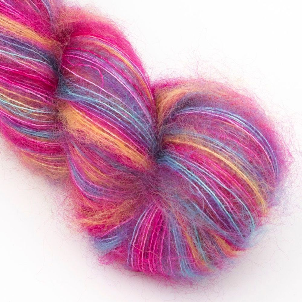 moonbroch Rainbows and Pink Skies kid mohair silk haze hand dyed yarn indie