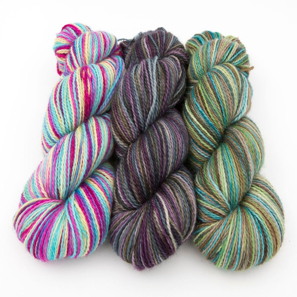 trio blue faced leicester nylon sok yarn british hand dyed in Yorkshire the