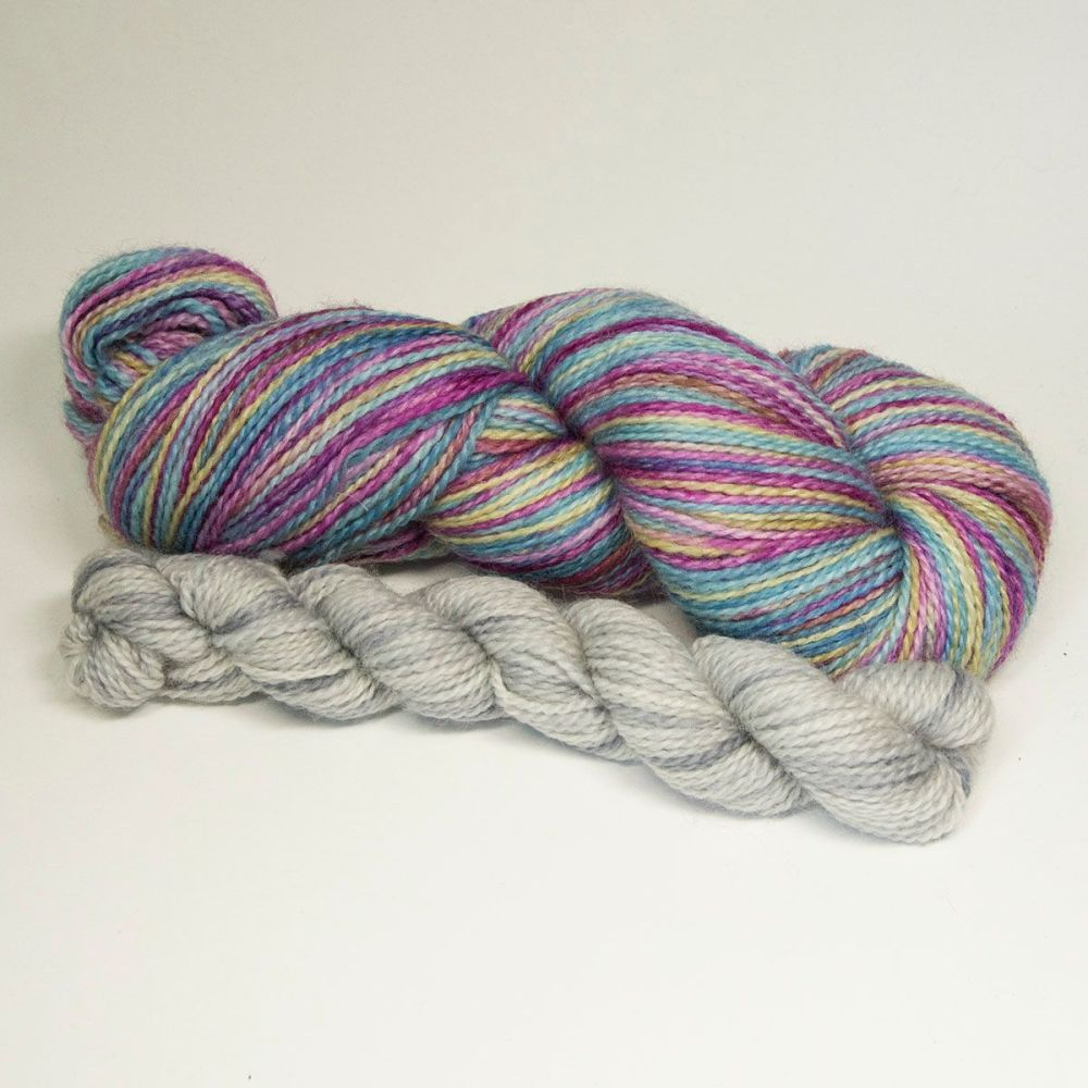 bfl nylon sock heels and toes faded rainbow and pearl