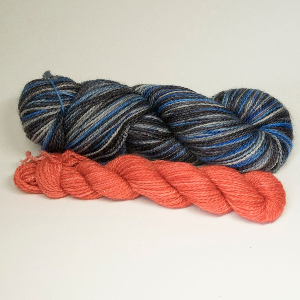 bfl nylon sock heels and toes stormy sky and geranium