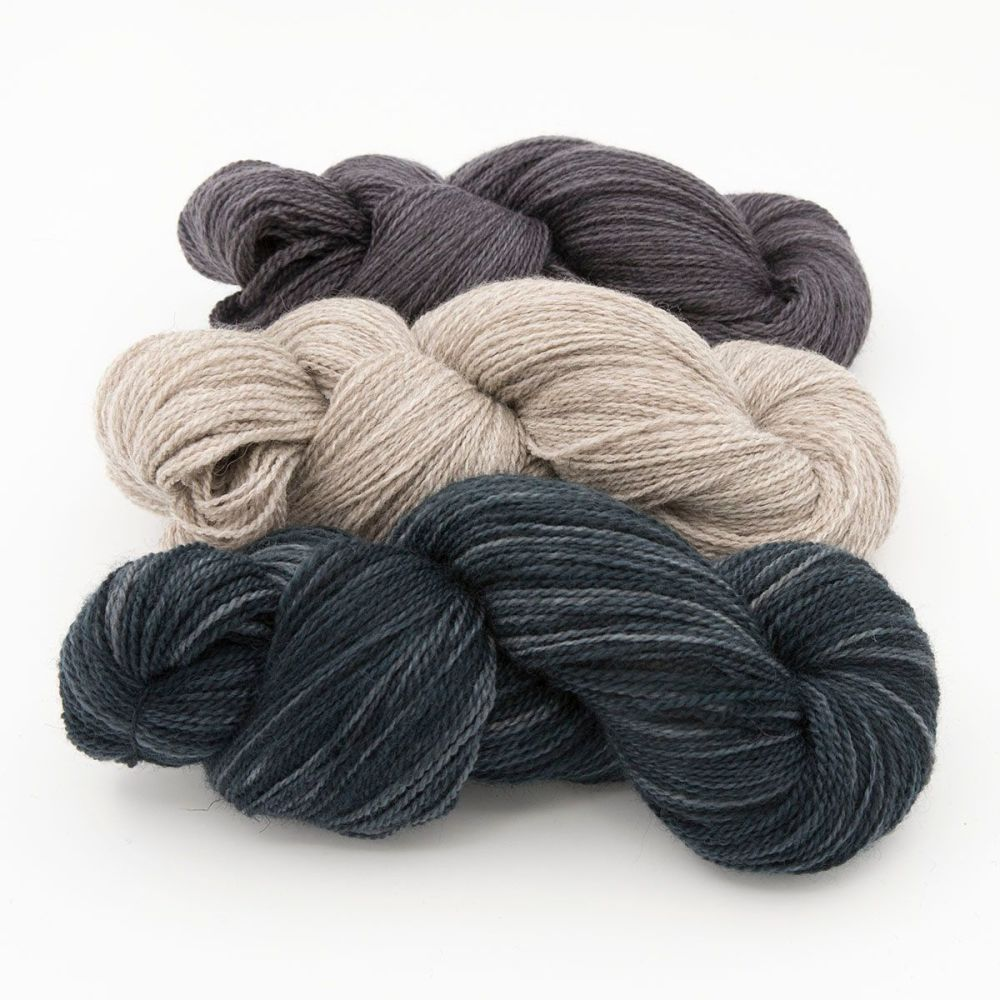shaded green coal silver blue faced leicester masham yarn British indie dye