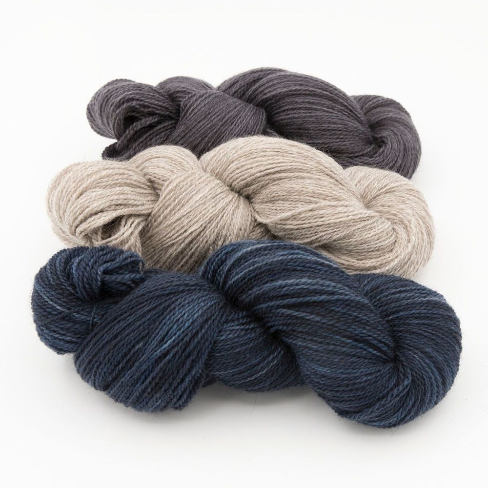 shaded turquoise coal silver blue faced leicester masham yarn British indie
