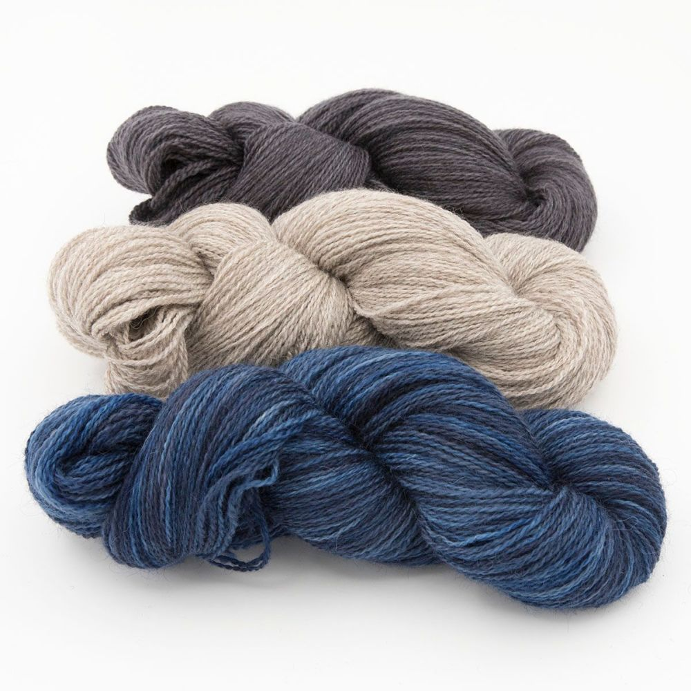 shaded blue coal silver blue faced leicester masham yarn British indie dyed