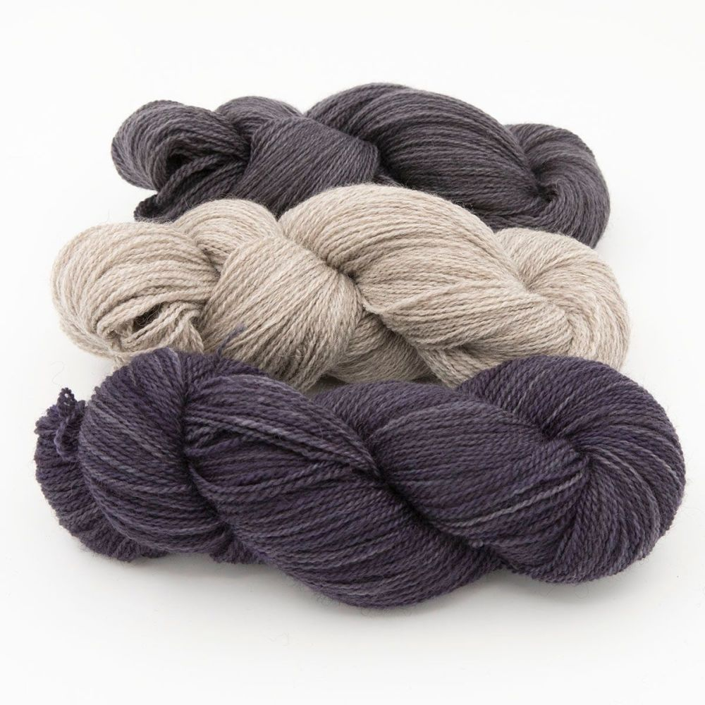 shaded violet coal silver blue faced leicester masham yarn British indie dy