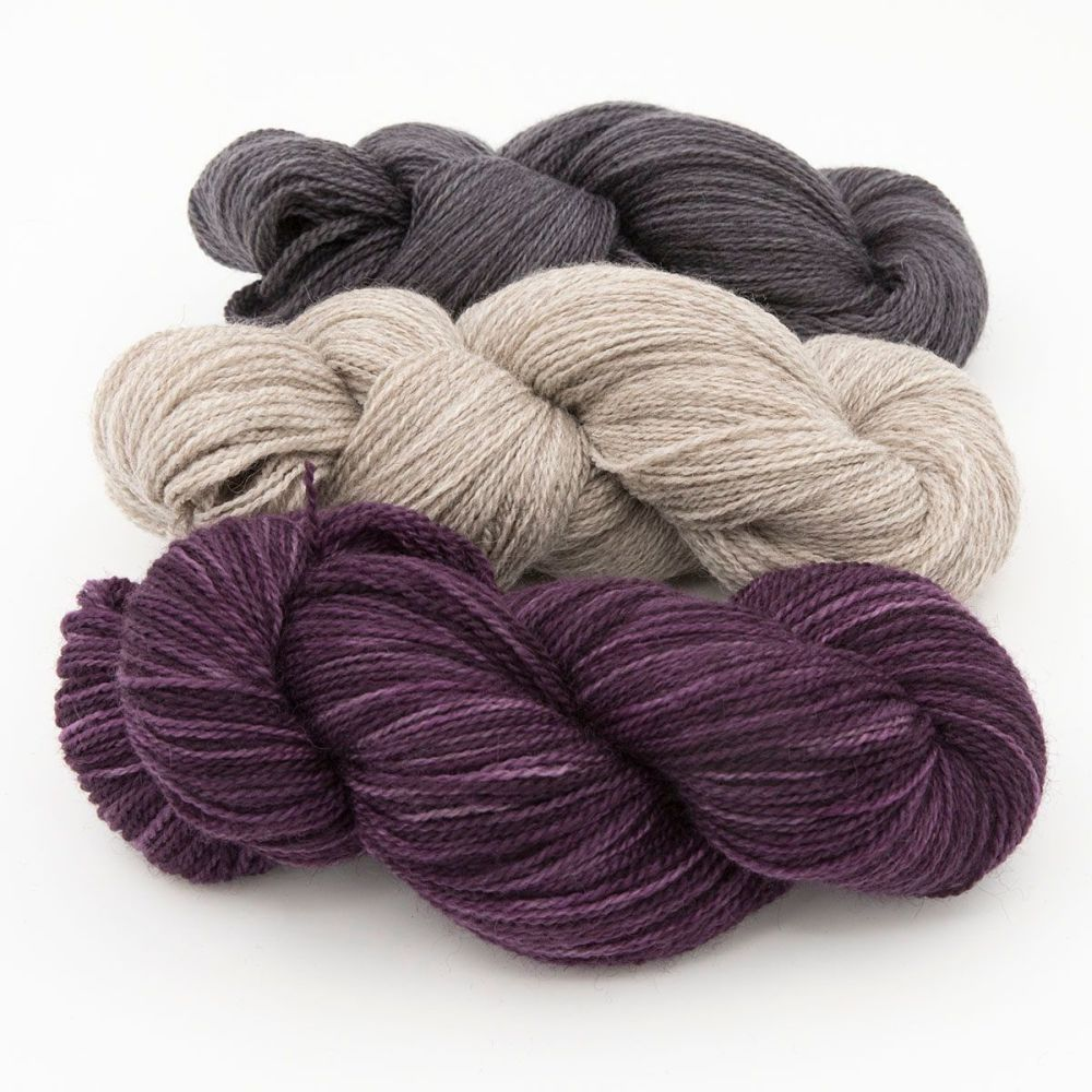 shaded raspberry coal silver blue faced leicester masham yarn British indie