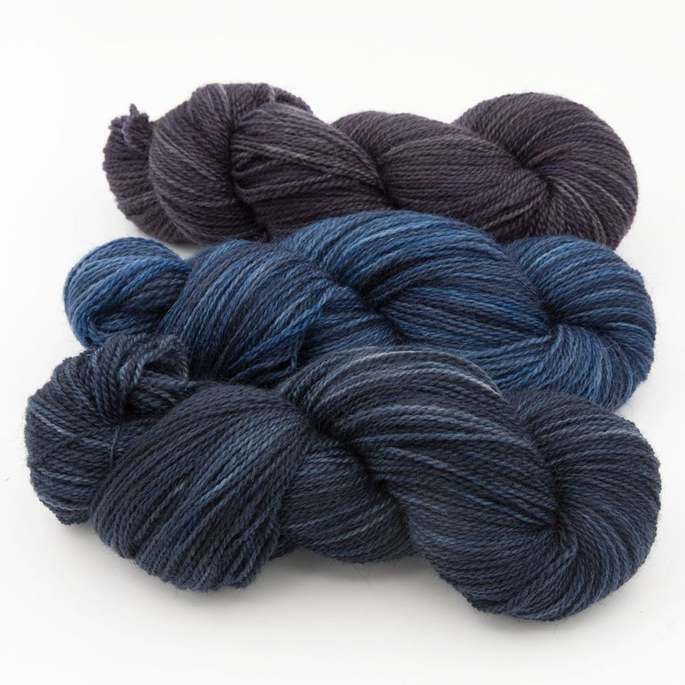trio shaded turquoise blue violet blue faced leicester masham yarn British