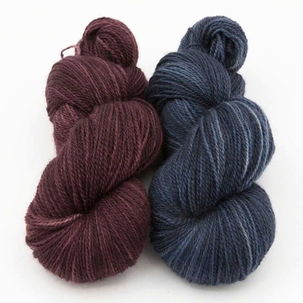 duo shaded red turquoise blue faced leicester masham yarn British indie dye