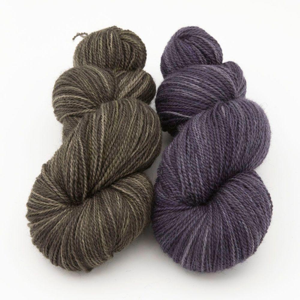 duo shaded yellow violet blue faced leicester masham yarn British indie dye