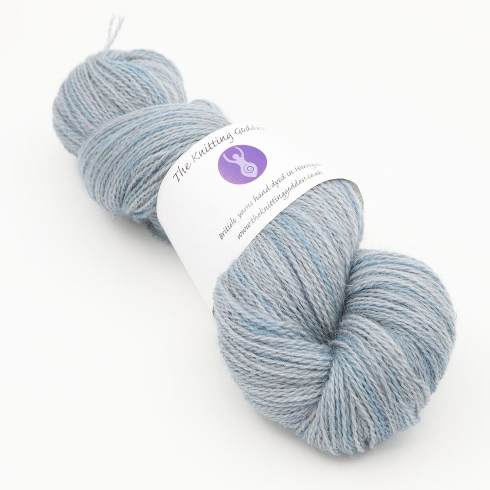 superhero genes phantom blue one farm yarn 4ply hand dyed british wool the