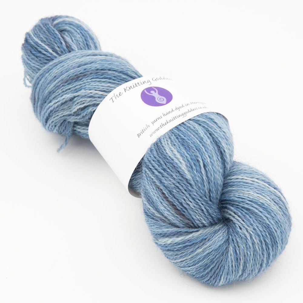 superhero genes steel blue one farm yarn 4ply hand dyed british wool the k