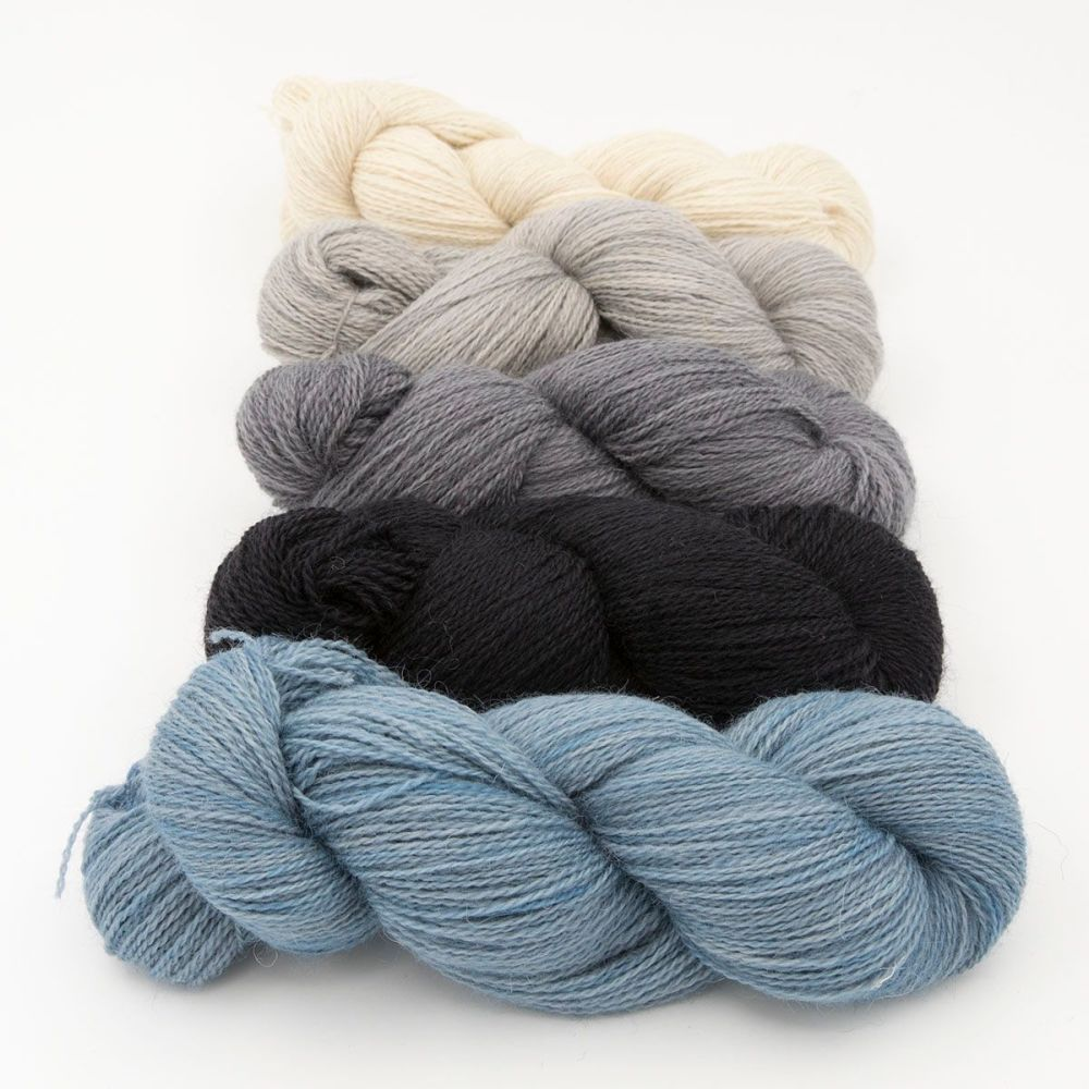neutral fade and slate blue one farm yarn 4ply hand dyed british wool the