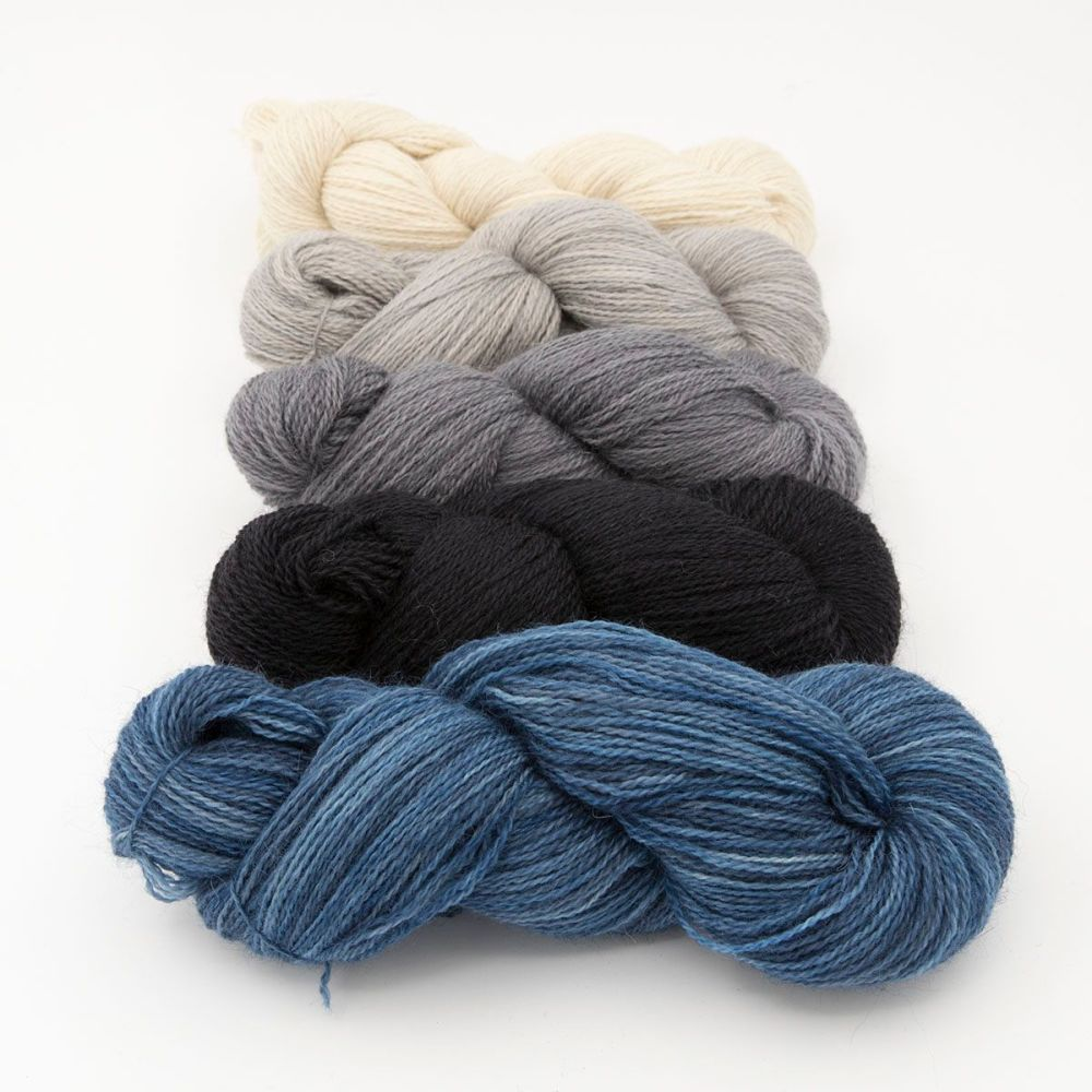 neutral fade and navy blue one farm yarn 4ply hand dyed british wool the k