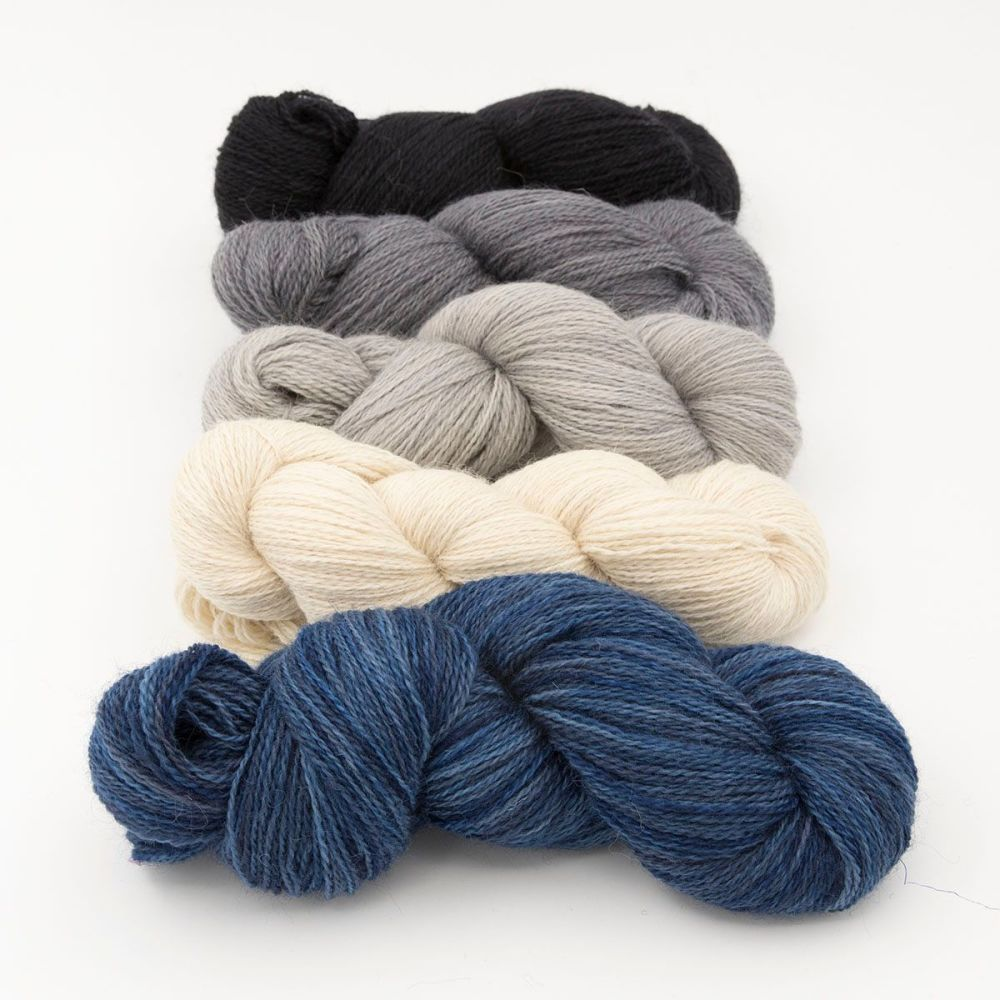 neutral fade and midnight blue one farm yarn 4ply hand dyed british wool t